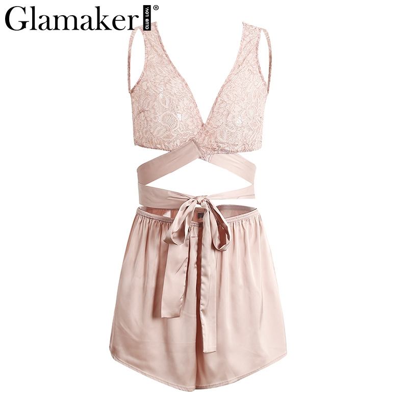 Glamaker Sexy lace satin jumpsuit romper Women hollow out lace up crop top shorts Summer wraped