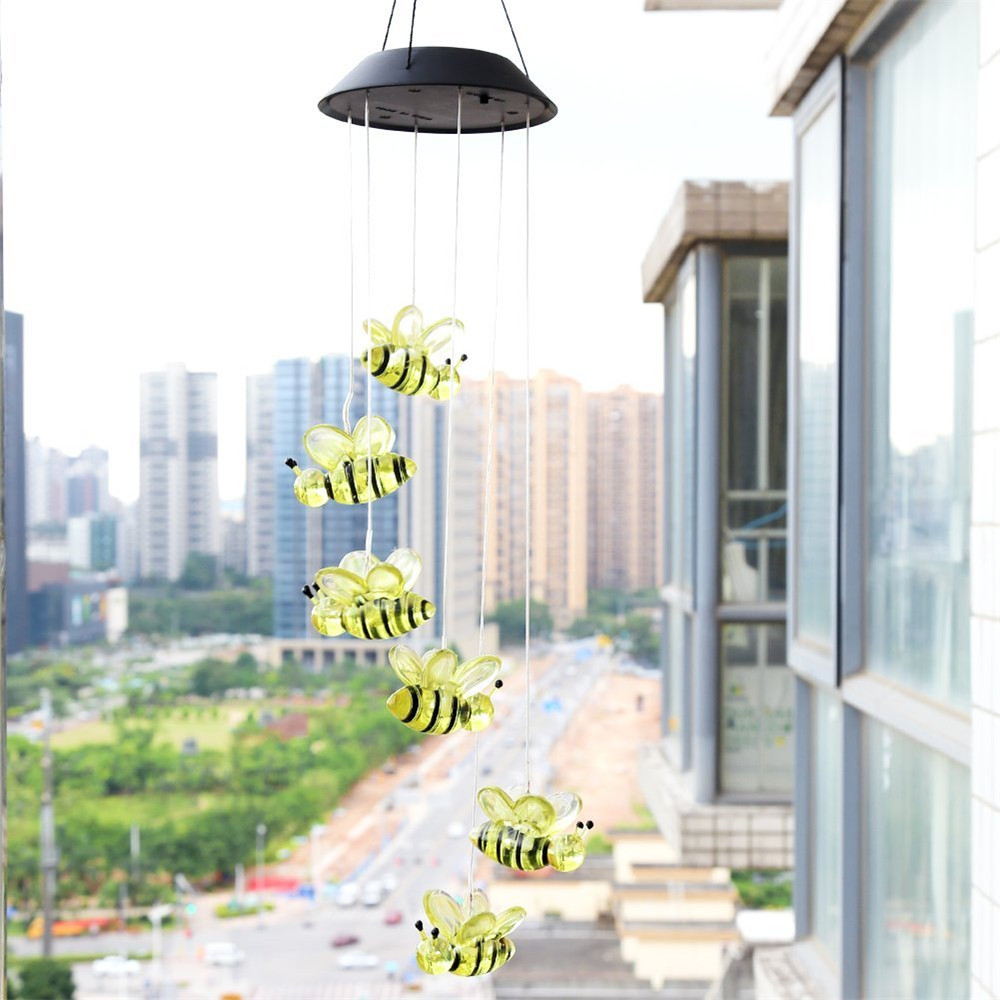 COLOUR CHANGING WIND CHIME LIGHT WITH CRACKLE EFFECT BALL SOLAR POWERED