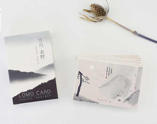 AELM009-52mm*80mm river mountain paper greeting card lomo card(1lot=28pieces)