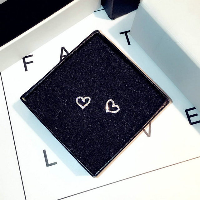 Корейские серьги s925 стерлингового серебра Цвет Сердце bling