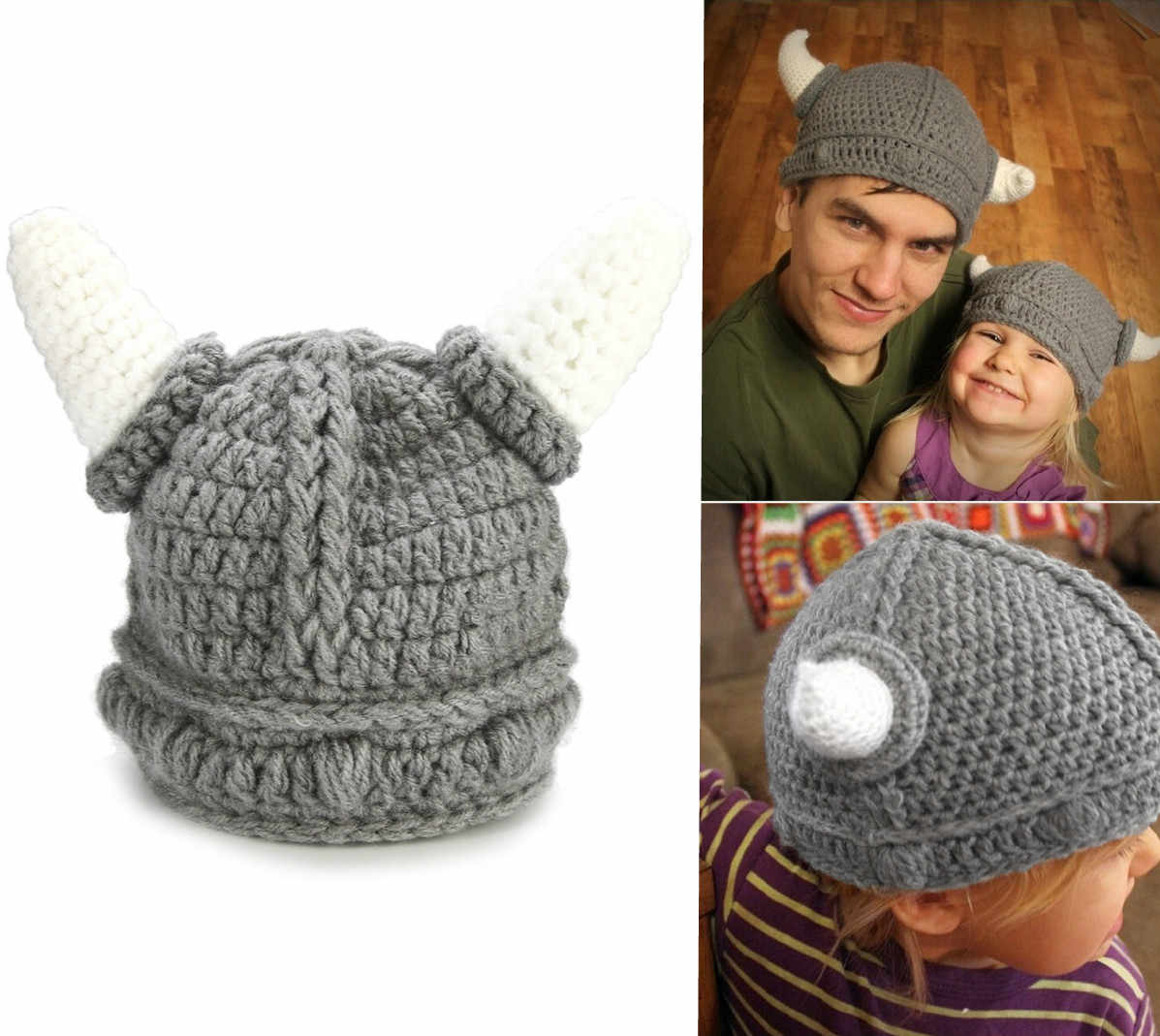 4db448dc80f Detail Feedback Questions about 2018 Cute Kid Baby Crochet Knitted Hat  Handmade Winter Hat Children Viking Horns Hat on Aliexpress.com