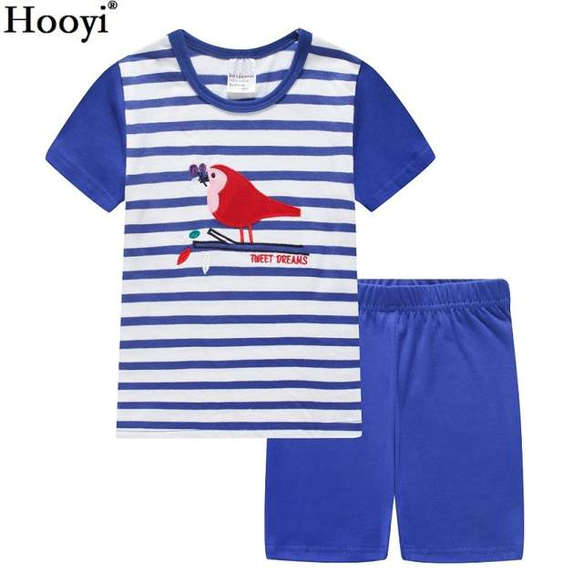 9f45a6383 Online Shop Hooyi Summer Boys Pajamas Suits Blue pijamas Kid ...
