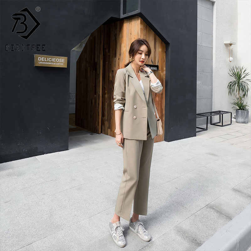 2019 春の新女性の 2 点セットブレザースーツダブルブレストフライポケットノッチ長袖販売 S92802Z
