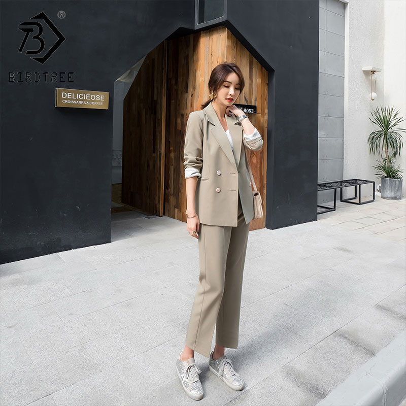 2019 Spring New Women's Two Piece Set Blazer Tops Suits Double Breasted Pants Button Fly Pocket Notched Long Sleeve Sale S92802Z