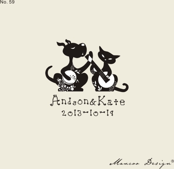Personalized Cat Cartoon Wedding Stamps Invitation Card Seal Wood Rubber Logo Name Stamp Diy Cards