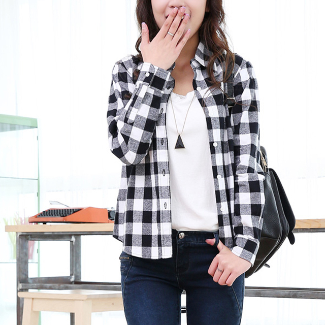 b38dc839 New Arrival Red,Black White Plaid Shirt Female Autumn Winter Ladies Long  Sleeve Casual Checkered Shirt Girls Student Cotton Tops