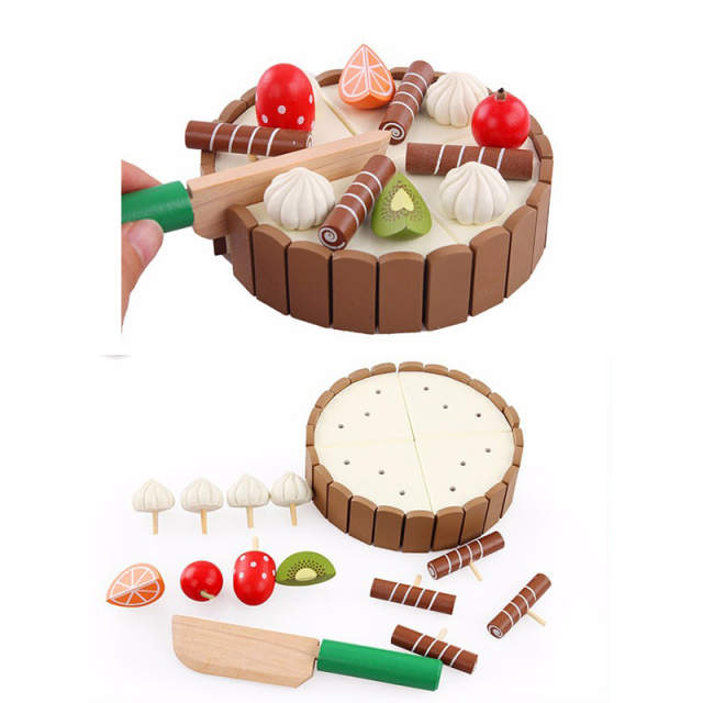 Us 1081 31 Offchildren Pretend Play Wooden Kitchen Toy Set Mini Magnetic Birthday Cake Kids Early Educational Toy Wooden Food Fruit In Kitchen