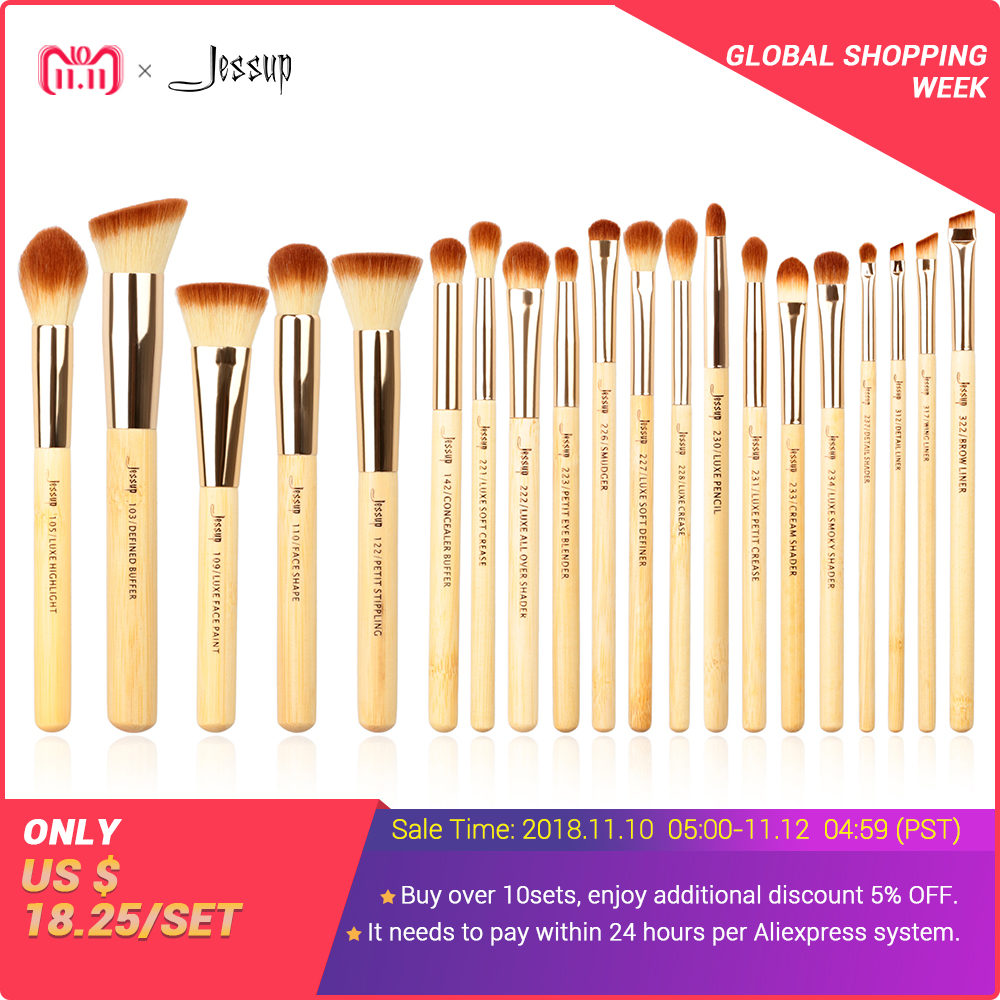 Jessup brushes 20pcs Beauty Bamboo Professional Makeup Brushes Set Make up Brush Tools kit Foundation Powder Brushes Eye Shader abs plastic material unpainted primer color tail trunk wing rear roof spoiler car styling for honda crv cr v 2007 2011 aitwatt