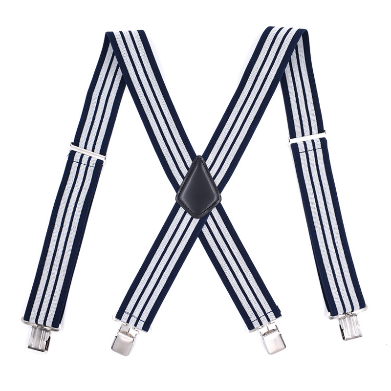 JIERKU Suspenders Mans Braces 4Clips Suspensorio Trousers Strap Adjustable Outdoor Stripe Suspenders 5.0*120cm
