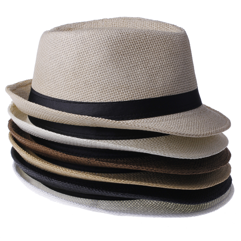 a672fa1d98881 2018 Fashion Summer Straw Men's Beach Sun Hats Trilby Dad Gangster Cap  Sunhat Beach Sun Straw Panama Hat