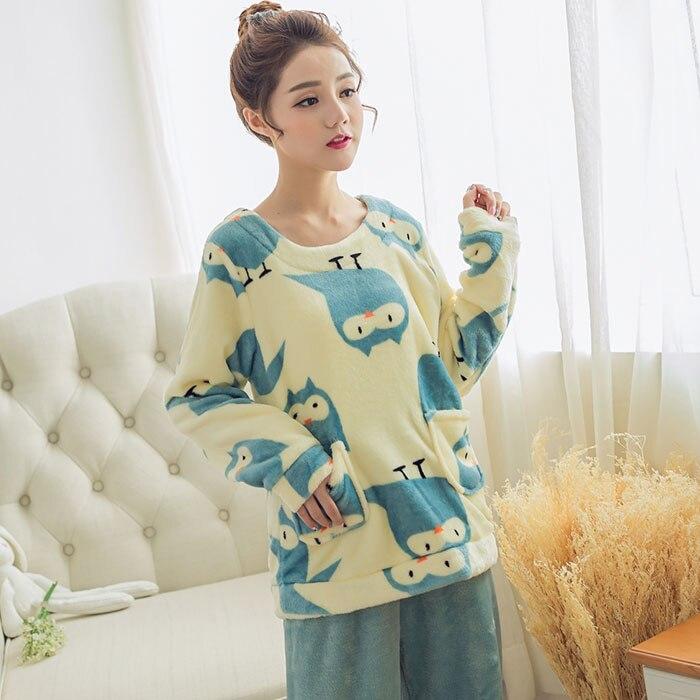 WAVMIT 2018 Winter Women Pyjamas sweet Flannel Pajama Suit Cartoon Animal  Thick Warm. Add Cart 1785ddc87