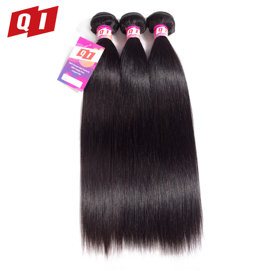 QI Hair 3 Bundles Deals Brazilian Straight Hair Bundles 100% Human Hair Extensions Natural Color Hair Weave Non Remy