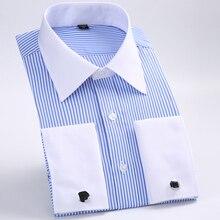 Новинка, Мужская классическая рубашка с французскими запонками, брендовые официальные рубашки для мужчин, рубашка с длинным рукавом, мужская рубашка, Camisa Masculina