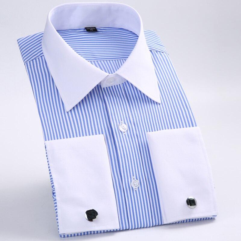 2017 Neue Männer Klassische Französisch Manschettenknöpfe Shirt Marke Formal Shirts Für Männer Langarm Smokinghemd-männer Camisa Masculina