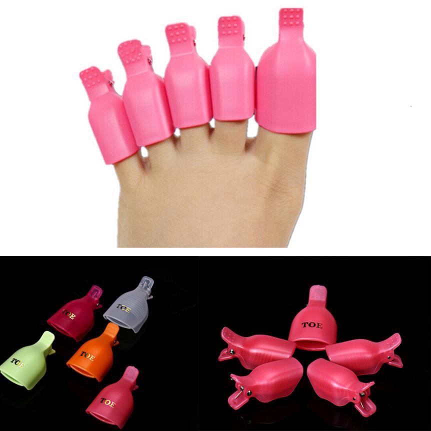 10pcs Beauty Salon Plastic Acrylic Nail Art Soak Off Uv Gel Polish Remover Wrap Clip