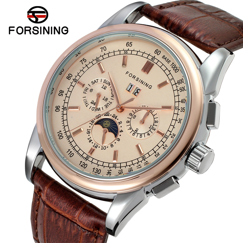 FSG319M3T2 New arrival Automatic men dress wrist watch with moon phase whole sale promotion price free shipping with gift box цена