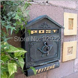 Cast Iron Wall Mailbox with Newspaper Letters Post Box outdoor mailbox