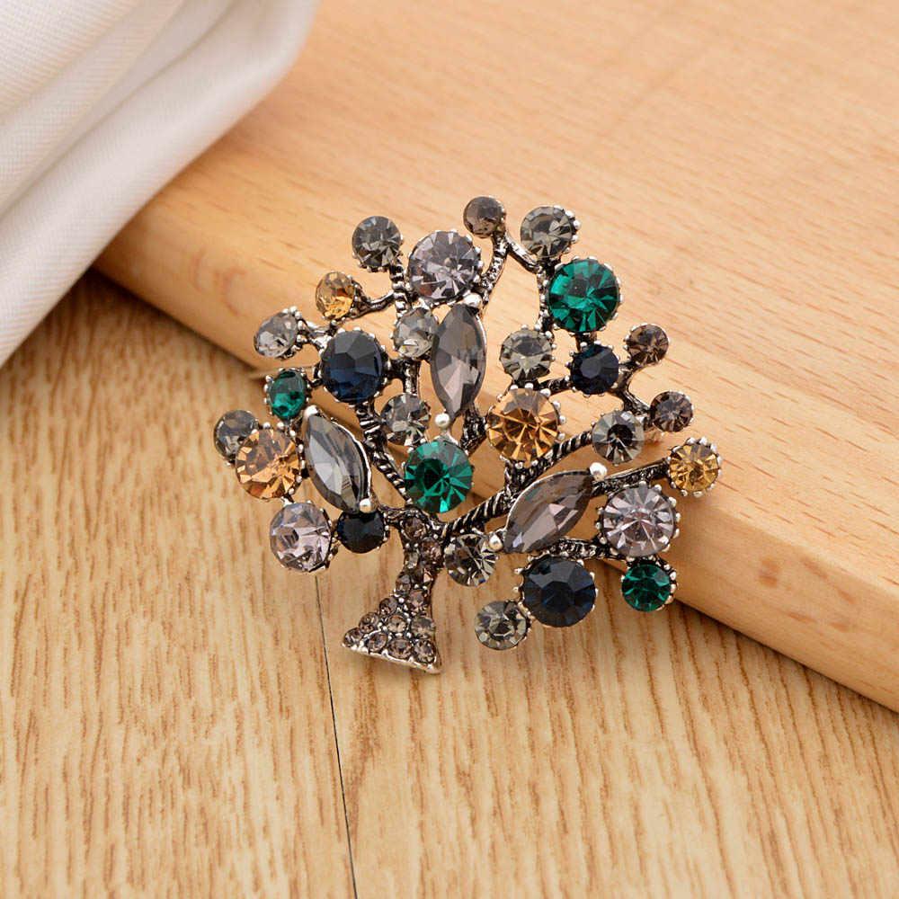 Cindy Xiang Colorful Rhinestone Pohon Bros untuk Wanita 2 Warna Tersedia Fashion Vintage Elegan Pin Bros Mantel Perhiasan Hadiah