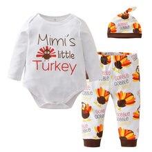 3bbb756db 3 piezas recién nacido bebé niñas ropa de algodón de manga larga Turquía  Romper + Pantalones + trajes de sombrero niño niños rop.
