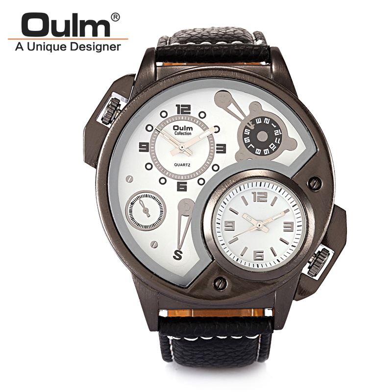 Oulm 3578 japan double movt male quartz watch leather band wristwatch military sport round dial for Celebrity quartz watch japan movt
