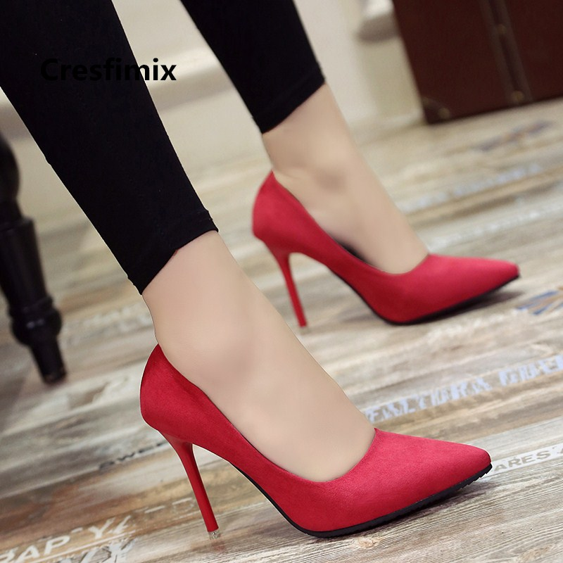 Women Cute Comfortable Spring & Summer Red Office Pointed Toe High Heel Pumps Lady Fashion Sweet Black High Heel Shoes E2912 2017 new spring summer fashion women pointed toe flock med heel shoe office lady basic model all match black shollow daily camel