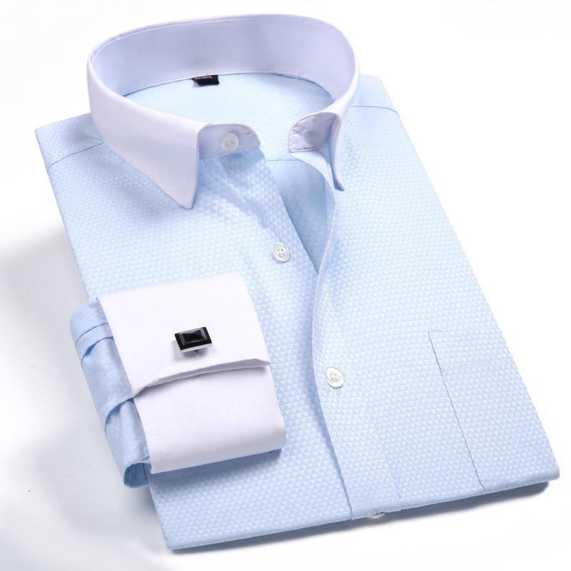 Fransız manşet gömlek Erkekler Marka ziyafet iş Erkekler uzun - Erkek Giyim