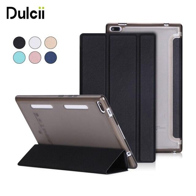 DULCII for Lenovo Tab 4 8 Leather Cases PU Leather Tri-fold Stand Tablet Case Accessory for Lenovo Tab4 8 TB-8504F/N - Black