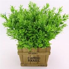 34CM 5 forks Rural Plastic Grass Potted Plant Set Artificial Flowers Bonsai flowerpot Wedding Home Decorative