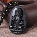 Natural obsidian buddha pendant male Women necklace animal buddha Bead curtain transhipped scrub buddha head pendant black