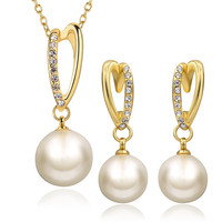 Jewelry Sets Simulated Pearls For Women Earrings Necklace Pendants Vintage Gold 585 Plated Wedding Accessories Party