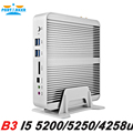 Partaker b3 fanless pc i5 mini pc windows 10 broadwell Core i5 i5 5200U 5250U i5 HTPC Óptico + 2 * Nics 5257U 4 K + 2 * HDMI + 300 M wi-fi
