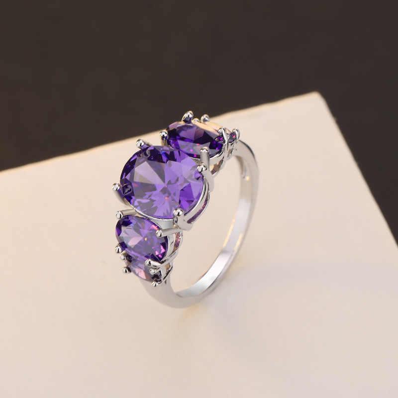 OMHXZJ Оптовая Продажа Европейский модный женский мужской праздничный свадебный подарок Серебряный Фиолетовый аметист кольцо из стерлингового серебра 925 RR160