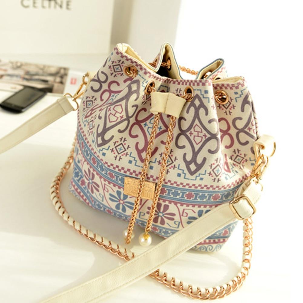 Canvas Drawstring Bucket Bag Shoulder Handbag Faux Pearl Bag Multi Purposes Tote Shoulder Crossbody Bag