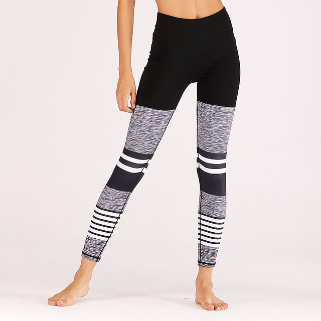 Women Fitness Casual Workout Butt Lifting Pants Grey Black White Striped Patchwork Leggings Activewear Yogaing Clothing Capri