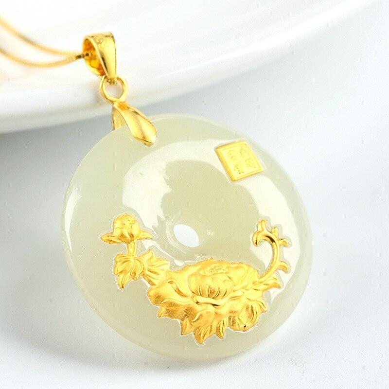 78e49566ca7a Hetian Jade botón Seguridad colgante Jade Ping un Kou collar de los ...