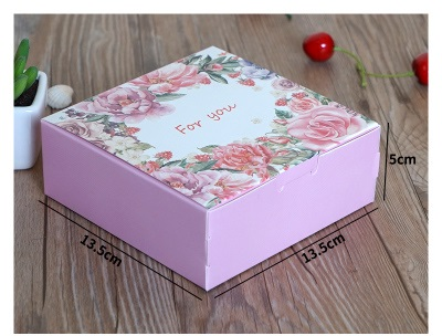 13 5 13 5 5cm 10pcs pink rose for you design Paper Box candy Cookie Storage Boxes valentine Wedding Christmas gift Packaging in Gift Bags Wrapping Supplies from Home Garden