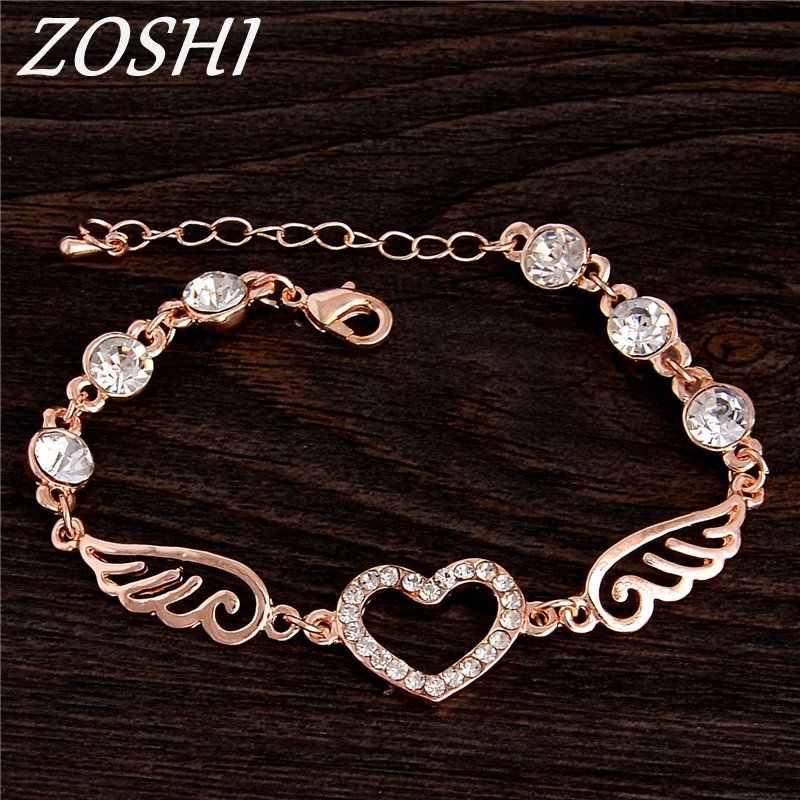 יוקרה קריסטל לב סגולה צמידים & צמידי זהב צבע צמידים לנשים תכשיטי Pulseira Feminina צמיד תכשיטים