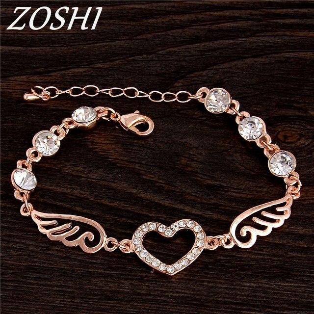 ZOSHI Luxury Rose Gold Chain Link Bracelets for Women Ladies Cubic Zircon Crystal Jewelry Charms Heart Woman Bracelets & Bangles