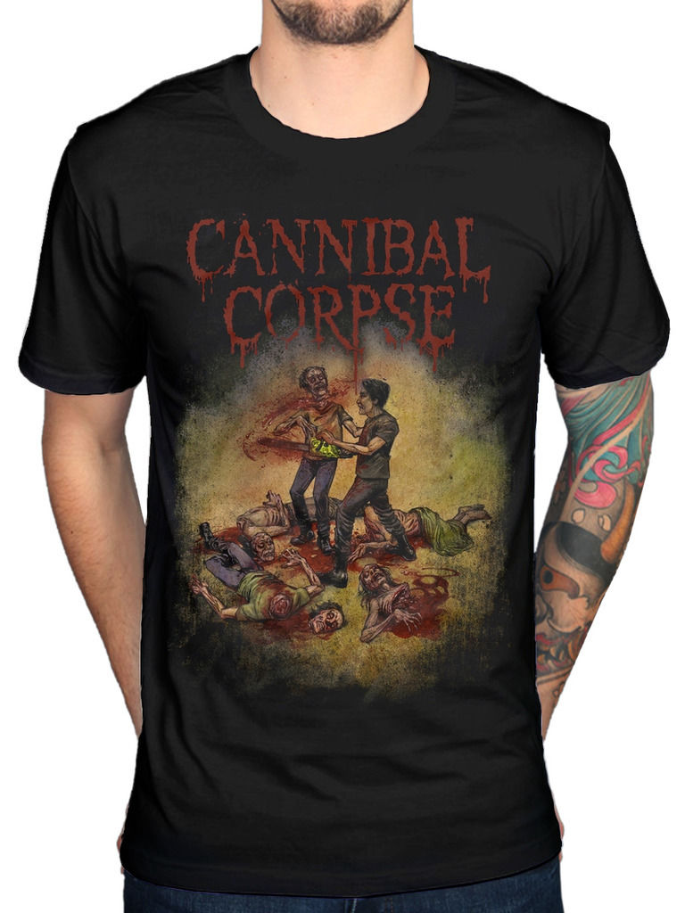Cannibal Corpse Chainsaw T-Shirt Skeletal Domain 25 Years Butchered Hipster Tees Summer Mens T Shirt