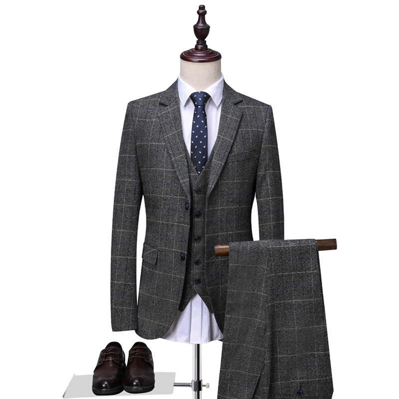 OSCN7 2019 新チェック柄テーラーは男性 3 ピース紳士ビジネス結婚式カスタムメイドメンズスーツブレザーカスタマイズ 16