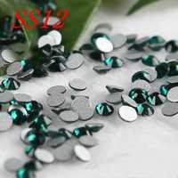 SS12 1440 piezas profundo verde de cristal de arte de uñas de diamantes de imitación no caliente arreglar Strass de decoración de uñas