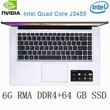 P2-23 6G RAM 64G SSD Intel Celeron J3455 NvIDIA GeForce 940M Gaming laptop keyboard and OS language available for choose