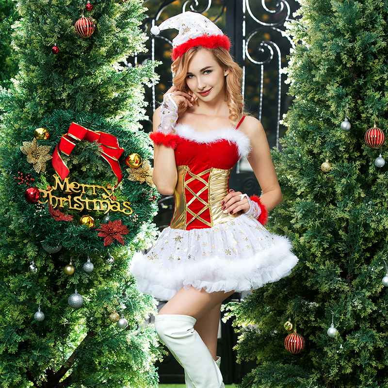 Red Women Christmas Costume Erotic Sexy Corset Christmas Dress Santa Claus Costume for Adult Women Halloween Party Dress 6355
