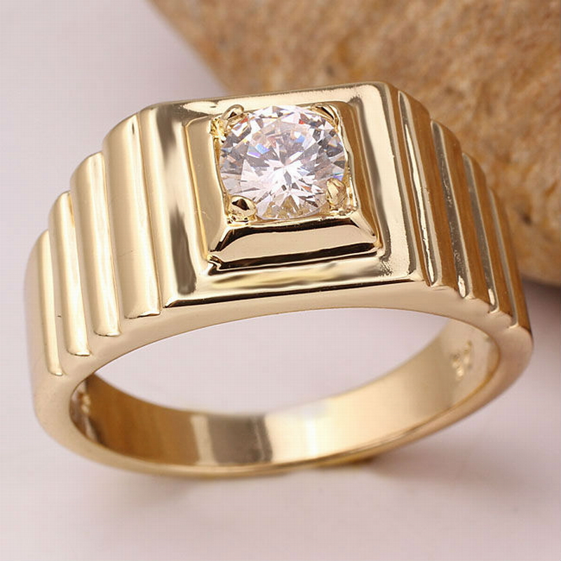 Gold Color Men s 925 Sterling Silver font b Ring b font with 5 5mm Stone