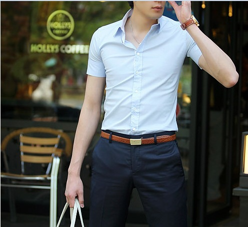 Korean Men S Short Sleeved Shirt