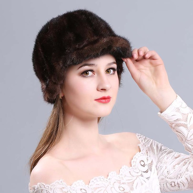 9b715b3c4 US $40.94 37% OFF|2018 autumn winter Super warm snow show women genuine rex  mink fur white Russian style cap lady luxur fur hat hair lovely fur-in ...
