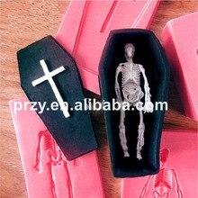 Halloween 3D Skull coffin cross fondant cake mold silicone chocolate tool