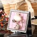 Festa de casamento da dama de honra menina amigo presente relativo à promoção, bling strass cristal sexy fox, mini beleza maquiagem espelho de bolso compacto