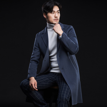 New Arrive Casual Men's Clothing Double Faced Wool Coat Cashmere Overcoat Thickening Long Design Handmade Woolen Outerwear
