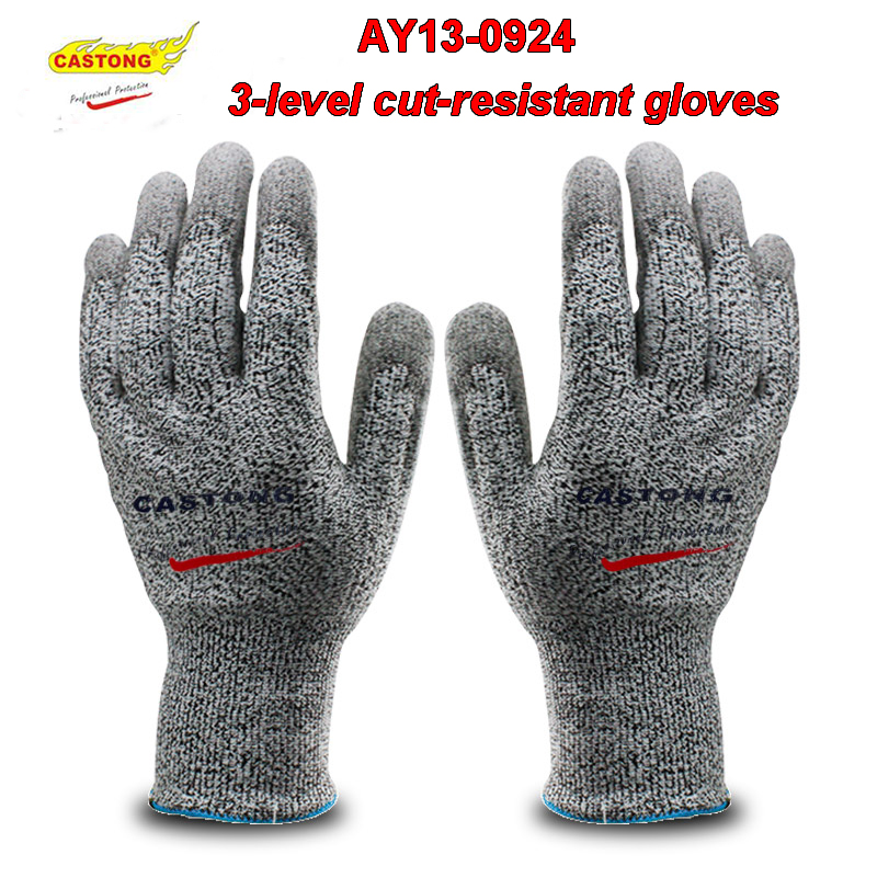 CASTONG AY13-0924 Cut-resistant gloves PU coating Anti-cut polyester safety gloves flexible Comfortable mechanic gloves oil free comfortable cheap nitrile gloves white nylon knitted hands protection gloves white mechanic construction industry